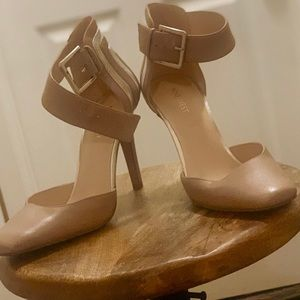 Nine West Classic ankle strap nude shoe